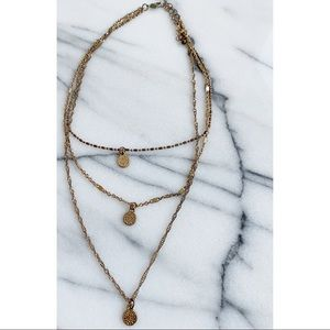 Gold Brass Layered Bohemian Medallion Necklace